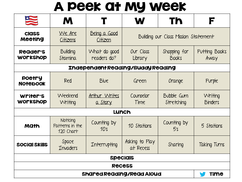 This weekly lesson plan has hyperlinks to individual lesson pdf's (FREE!) and product links when applicable. Follow my blog for new plans each week! http://firstgradebangs.blogspot.com